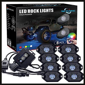 MICTUNING 2nd-Gen RGB LED Rock Lights with Bluetooth Controller, Timing Function, Music Mode